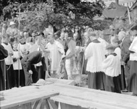 Archbishop Duke, laying of cornerstone of new rectory [ceremony]