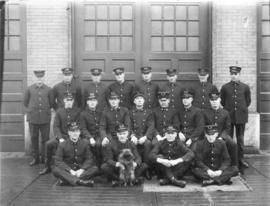 Group portrait of Vancouver Firehall No. 1 firefighters