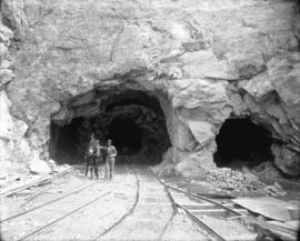 [Man standing with donkey at entrance to hydraulic tunnel for Buntzen Lake Power Plant number two]
