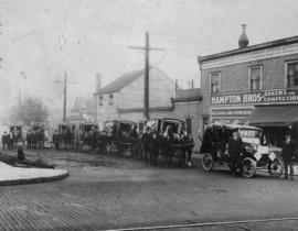 [Delivery wagons outside Hampton Brothers Limited, Bakers and Confectioners, Granville Street]