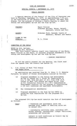Special Council Meeting Minutes : Sept. 13, 1979