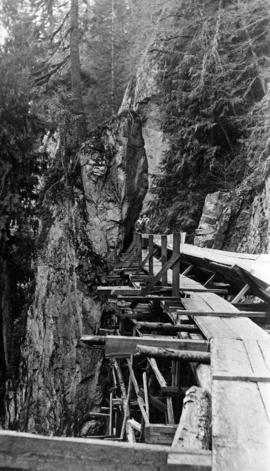 Close-up of flume, Capilano Canyon