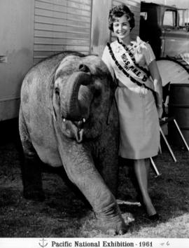 Carol Kish, Miss P.N.E. 1961, posing with elephant