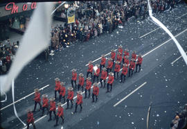43rd Grey Cup Parade, on Granville Street at West Pender, Royal Canadian Mounted Police [RCMP], t...