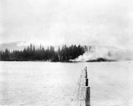 [View of smoke from a fire on Deadman's Island]