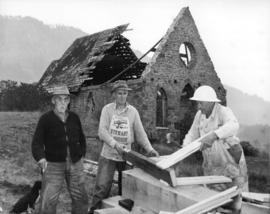 [Comeaken Indian Reserve Church being restored]