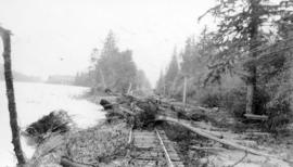 [Debris over railway tracks during flooding of the Fraser River]