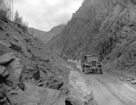 Army convoy [travelling through the Fraser Canyon]