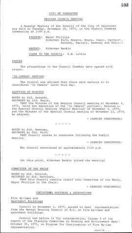 Council Meeting Minutes : Nov. 18, 1975