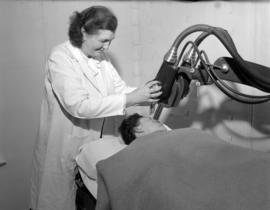 [Patient receiving radiation treatment at the B.C. Cancer Institute]