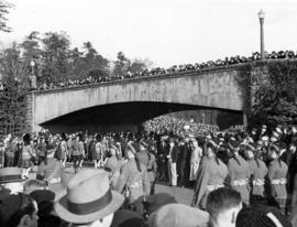 [Seaforth Highlanders march into Stanley Park for King George V's memorial service]