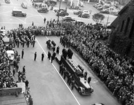 Funeral cortege of three firemen killed on duty, loading the coffins