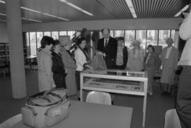 Mayor Michael Harcourt, City Archivist Sue Baptie, and members of the Vancouver Pioneers' As...