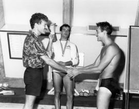 Richard Dopson with swimmers