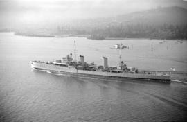 [View of Royal Navy cruiser passing through the First Narrows]