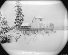 [Lighthouse at] Brockton Point [covered in snow]