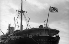 "[Stern of ""Vancouver - Hamburg"" showing a flag with a swastika]"