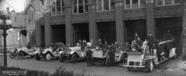 [Men and vehicles at] No. 2 Hall [on Seymour Street] , Vancouver Fire Dept., May 1, 1919