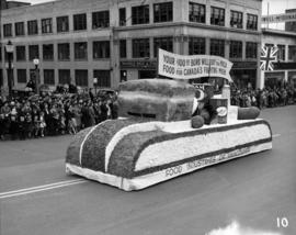 Food Industries of Vancouver float, World War II parade on Burrard Street