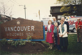 Mayor Harcourt and Commissioners next to Vancouver AM sign at Oak Street and 71st Avenue