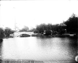 [Beacon Hill Park pond, bandstand and bridge]