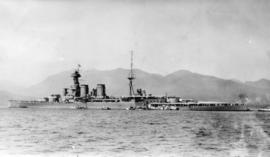 HMS Hood at Vancouver [British warship in Vancouver Harbour on its Empire Tour]