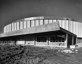 Construction and landscaping around exterior of Pacific Coliseum