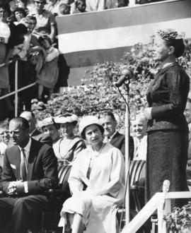 [Mayor Beth Woods speaks at Queens Park for H.R.H. Queen Elizabeth and H.R.H. The Prince Philip D...
