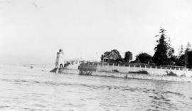 [Looking east towards Brockton Point showing lighthouse and park keeper's house in Stanley P...