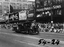 Truck decorated as locomotive in 1954 P.N.E. Opening Day Parade