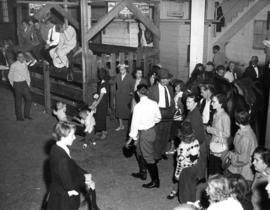Crowd in Livestock building during horse show
