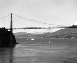 "[R.C.M.P. ""St. Roch"" in First Narrows approaching the Lion's Gate Bridge]"