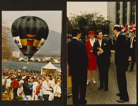 Hot air balloon and Mike Harcourt greets Princess Diana and Prince Charles at City Hall