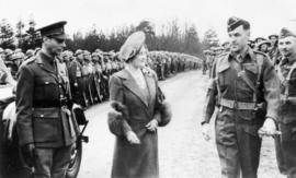 George VI and Queen Elizabeth at troop inspection