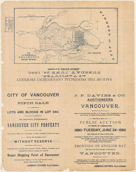 City of Vancouver. Fifth Sale. Lots and blocks in Lot 540