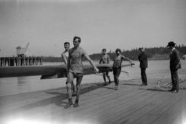 [Men carrying a scull, Esquimalt]