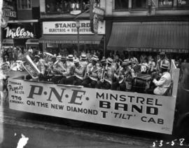 Thomas Pliney float carrying minstrel band in 1953 P.N.E. Opening Day Parade