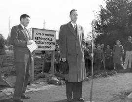 [ Mr. W.R. Russell and Mr. Alex W. Fisher at the sod-turning ceremony for the Kerrisdale Communit...