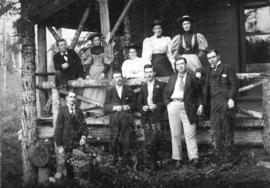 "[""The Capilano Tramps"" in front of George Grant Mackay's cottage]"