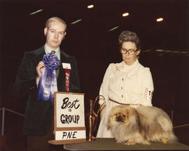 Best in Group [Toy Group: Pekingese] award being presented at 1976 P.N.E. All-Breed Dog Show