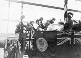 [The Duke of Connaught on viewing platform at Cambie Street grounds]