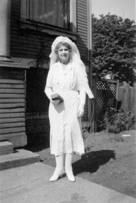 [Mrs. John E. Insley wearing her confirmation gown]