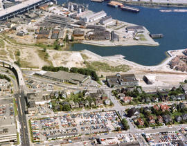 Aerial view of False Creek, Fairview and Granville Island, at Lamey's Mill Road, West 6th Av...