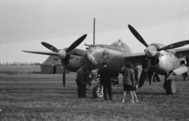 "[An American P-38 ""Lightning"" fighter at airshow]"