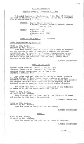 Special Council Meeting Minutes : Oct. 21, 1976