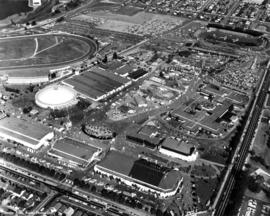 Aerial view of P.N.E. grounds looking northeast