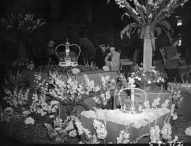 P.N.E. Horticultural Show, with coronation-themed flower arrangements