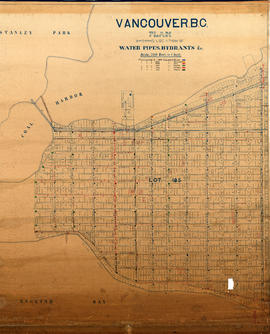 Vancouver, B.C. Plan showing location of water pipes, hydrants, etc. [West End]