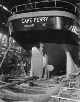 "Canadian Fishing Company launching of fish boat ""Cape Perry"""
