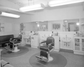 [Interior view of the barbershop in the] Martin Hotel, Ocean Falls